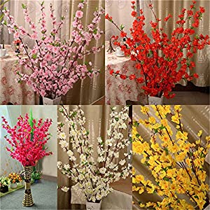 5Pcs Spring Peach Blossom Cherry Plum Bouquet Branch Silk Flower,Artificial Flowers Fake Flower for Wedding Home Office Party Hotel Yard Decoration 4
