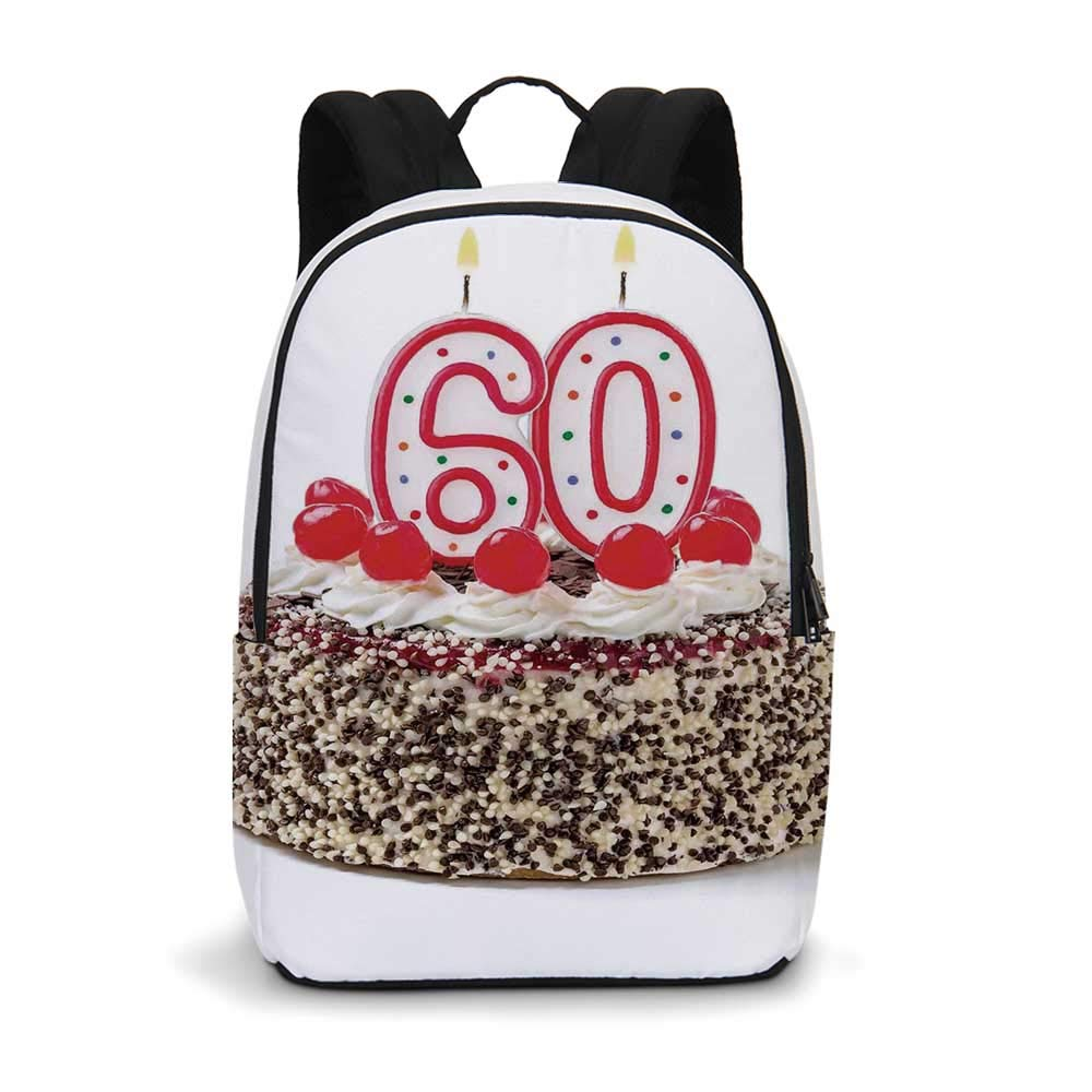 60th Birthday Decorations Modern simple Backpack,Happy Party Cake with Candles Cherries and Sprinkles Image Photo for school,11.8''L x 5.5''W x 18.1''H