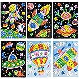 Urbebe Mosaic Sticker Art Sticky DIY Handmade Art Kits for Kids – Astronaut, Spaceship, Alien, UFO, Hot-air Balloon, Airplane(6 Pack)