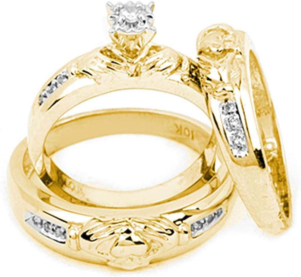 Juego de anillos de boda de oro amarillo de 10 quilates con diamantes a juego Claddagh para hombre y mujer