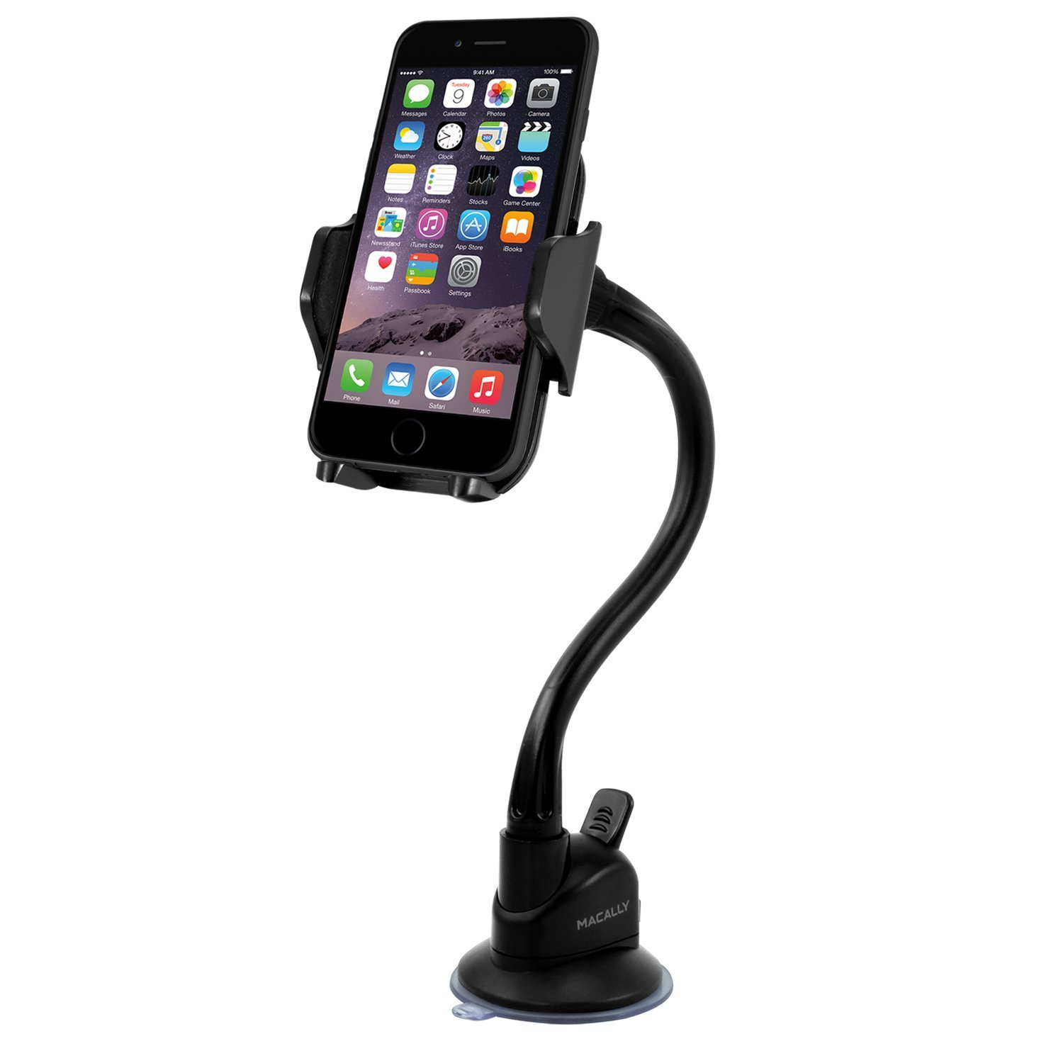 Macally Windshield Phone Mount, Adjustable Suction Cup Window Phone Mount Holder for iPhone XS XS Max XR X 8 8 Plus 7 7+ 6s 6 SE Samsung Galaxy S9 S9+ S8 S8+ S7 Edge Note 5 Nexus 6 Pixel LG (MGRIP)