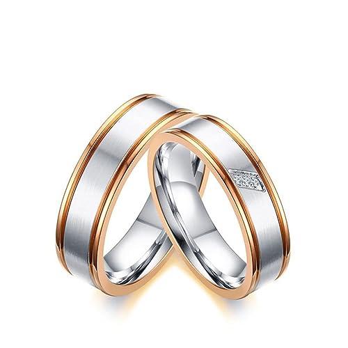 KNSAM - anillo de plata para él y ella, anillos de boda de cristal Mujer