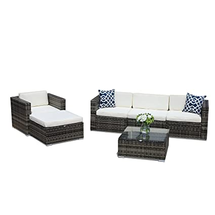 Amazon Com Super Patio Outdoor Furniture 6 Piece All Weather Grey