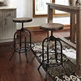 Pinnacal Light Brown Wood Metal Adjustable Height Swivel Stools, Set of 2 Review