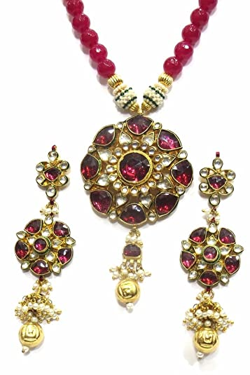 Buy jewelshingar jewellery exclusive polki kundan pendant set for jewelshingar jewellery exclusive polki kundan pendant set for women 19489 acs ps aloadofball Images