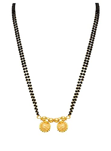 d22b1b554 ... and Ethnic Wati Designer One Gram Gold Plated Maharastyan Design  Mangalsutra with Black Bead 24 inches chain for woman and Girls  Amazon.in   Jewellery