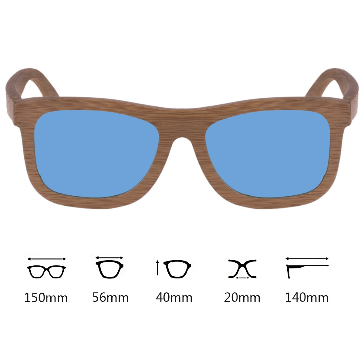 WISH CLUB Bamboo Wood Frame Lightweight Sunglasses Polarized UV 400 Retro Floating Square Mirrored Lenses Fashion Glasses (Blue)