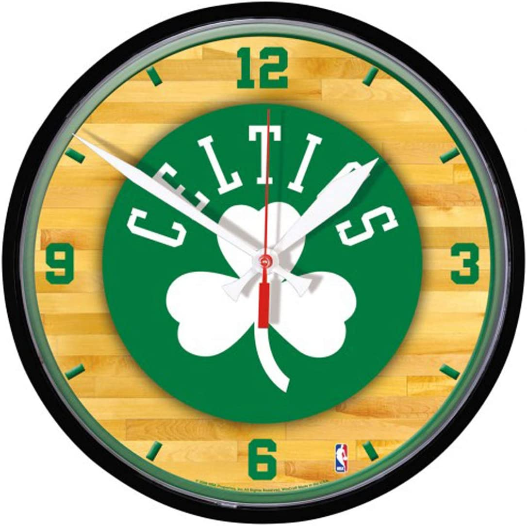 Boston Celtics 12 inch Round Wall Clock, Basketball Court Design