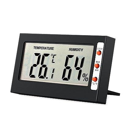 Henweit – Termómetro digital LCD higrómetro Mini interior Temperatura Humedad Monitor calibre negro para oficina en