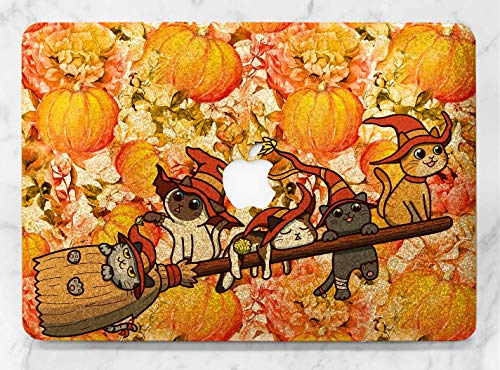 Cute Halloween Cat Broom Gold Rose Gold Hard Plastic Glitter Case Cover For Apple Macbook Air 11 13 Macbook 12 Macbook Pro 13 15 Inch 2016 2017 With Retina Display Touch Bar]()