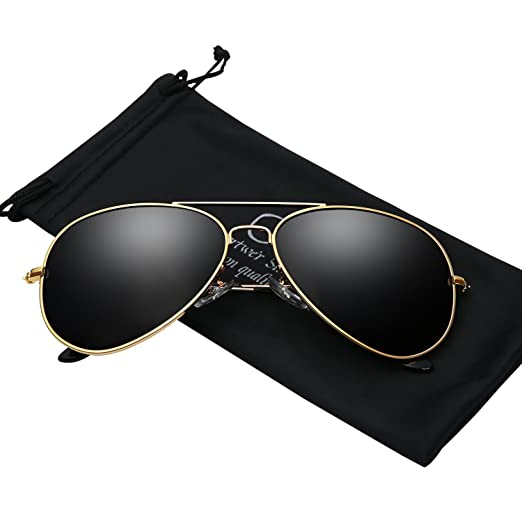 8c9488ec5 Sunglasses for Men Polarized Aviator Gold Frame UV 400 Protection Shades  With Case