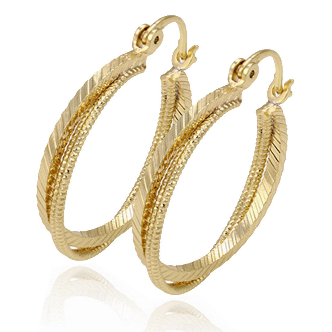 Juvel Jewelry Fashion Noble Style 14K Gold Plated Hoop Earrings 3 Circles Round Shape For Party 90900-1