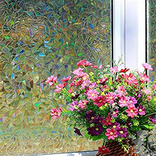 Yanqiao 3D Premium No-Glue Static Decorative Privacy Window Films,17.7x39.4inch.(45 x 100Cm) (Cabin With Glass Door compare prices)
