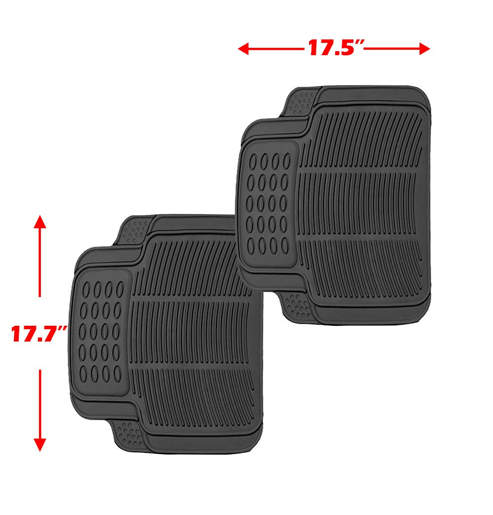 Scitoo 17-PCS Car Floor Mats W/Trunk Liner Gray/Red Car Seat Covers W/Steering Wheel Cover for Heavy Duty Vans Trucks by Scitoo (Image #6)
