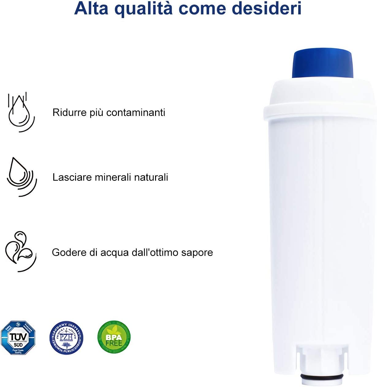 Filtro Acqua per Macchina da Caff/è Filtro Adatto a ECAM BCO EC MUHOO 2 Pezzi Filtri Addolcitore per Macchina da Caff/è Delonghi DLSC002 ETAM Addolcitore Cartucce a Carbone Attivo Esam