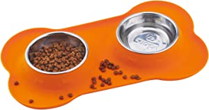 Super Design Double Bowl Pet Feeder Stainless Steel Food Water Bowls with No Spill Silicone Mat for Dogs Cats Small Orange
