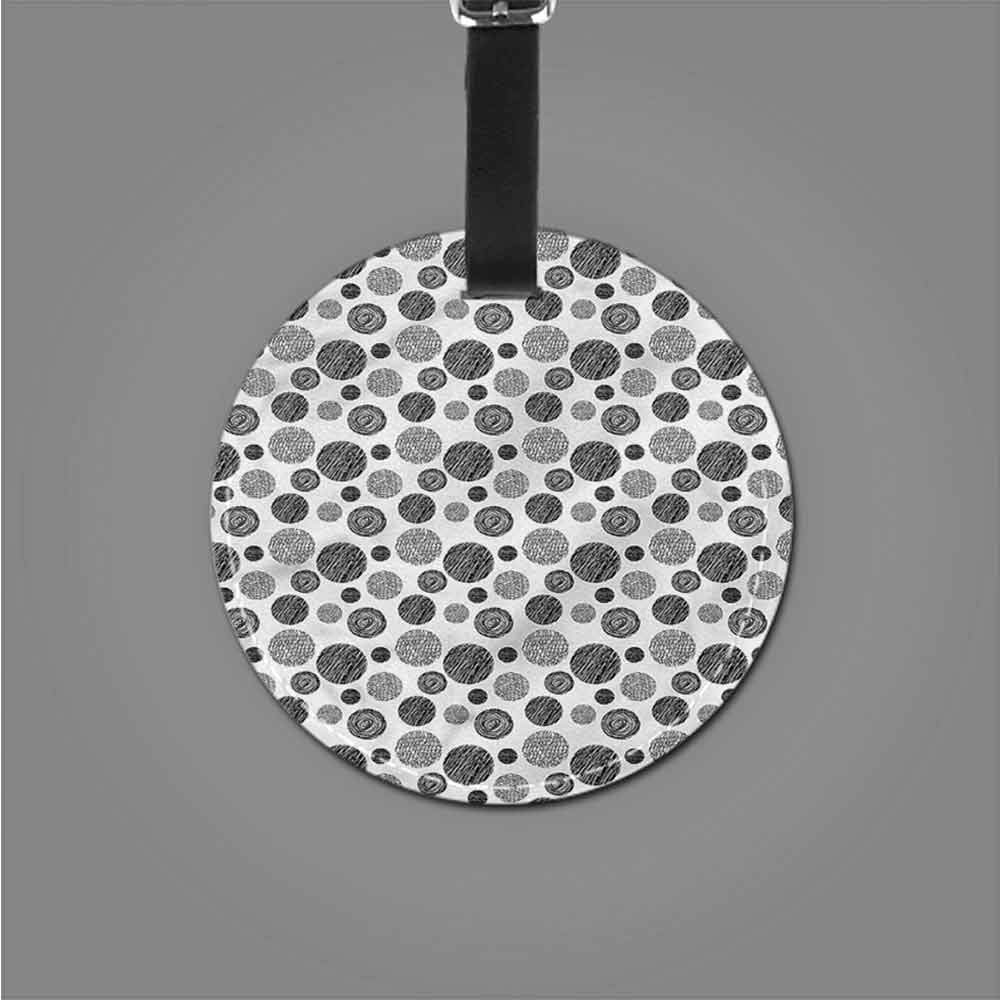 PU Leather Round Luggage Abstract,Circles Dots Modern Suitcase Tag