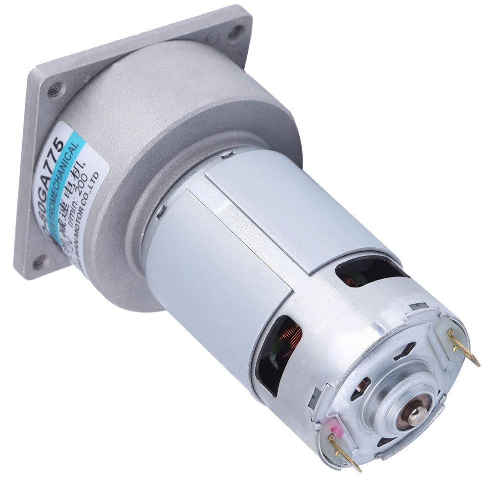 60GA775 DC12V 35W Micro Gear Motor Box High Torque Adjustable Electric Motor Speed Reduction Gearbox, Output Shaft Gearbox(200 Turns)