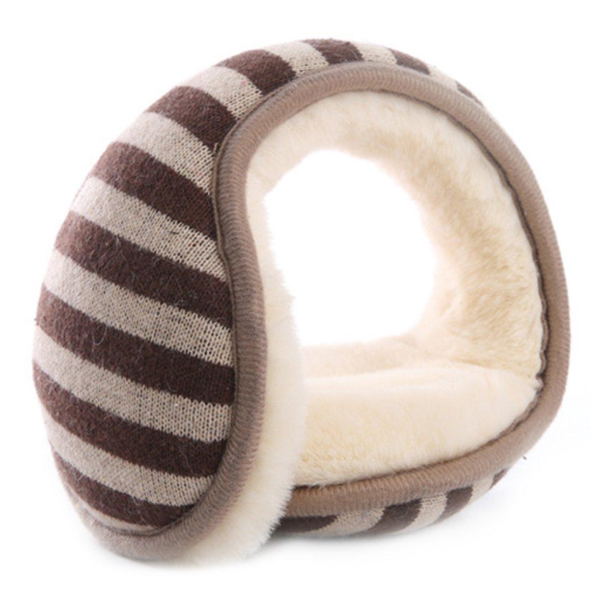 Surblue Classic Warm Kint Foldable Stripe Earmuffs with Fur Earwarmer Winter Outdoor Earmuffs, Adjustable Warp