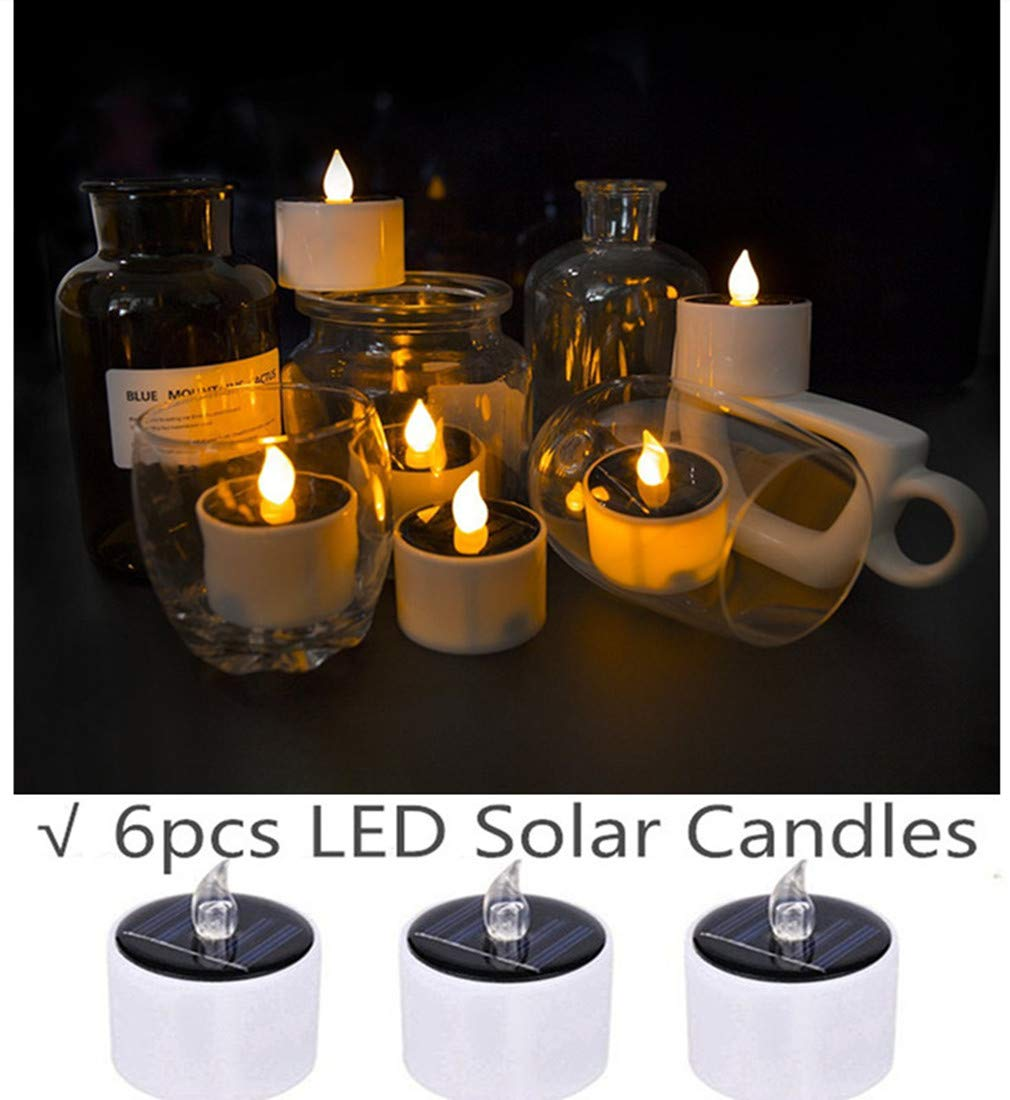 COUTUDI Flameless Candles Led Candles Tealight Candles Solar Candles, Warm White Faux Tea Light with Realistic Flicker for Wedding Patio Home Bar Party, Batteries Included 6 Pack