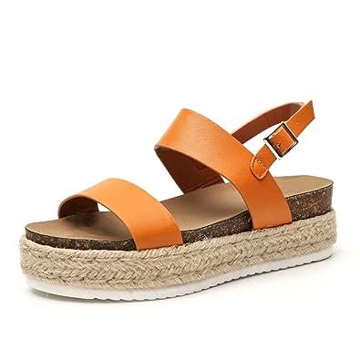 a8f0ca31c7 Sandalen Damen Plateau Espadrille Sommer Keilabsatz Leder 5 cm Absatz  Sandaletten Peep Toe Flach Sommerschuhe Bequeme