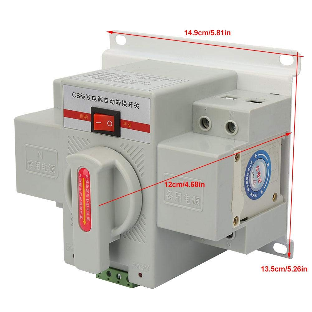 63A 2P 110V Isolation Type Dual Power Automatic Transfer Toggle Switch Noise-Free for Industrial Control Parts Automatic Transfer Switch