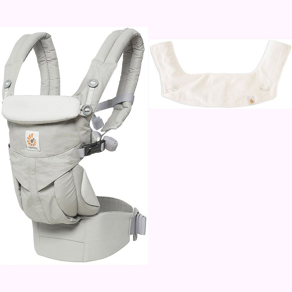 Ergo Baby Omni 360 All-in-One Ergonomic Baby Carrier with Teething Pad and Bib - Pearl Grey/Natural