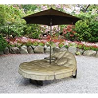 NEW Deluxe Orbit Chaise Lounge with Umbrella & Side Table, Seats 2