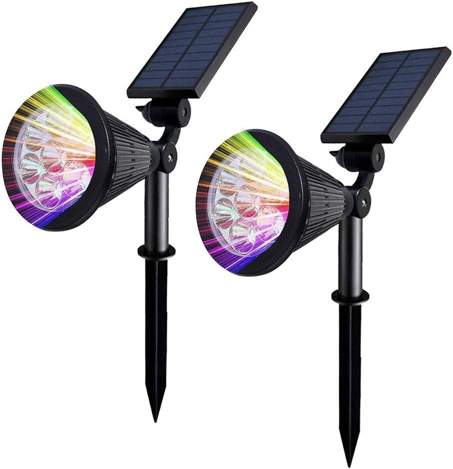 Mengjay Foco Solar colores, LED Luz Solar Jardín 7 Colores Focos Solares Exterior para Jardín,Ángulo Ajustable Farolas Solares(2 Unidades): Amazon.es: Iluminación