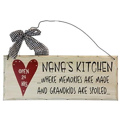 Amazon.com: 1 X Wooden Wall Plaque. \'Nana\'s Kitchen Where Memories ...