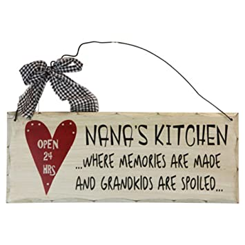 Amazon.com: 1 X Wooden Wall Plaque. \'Nana\'s Kitchen Where Memories ...