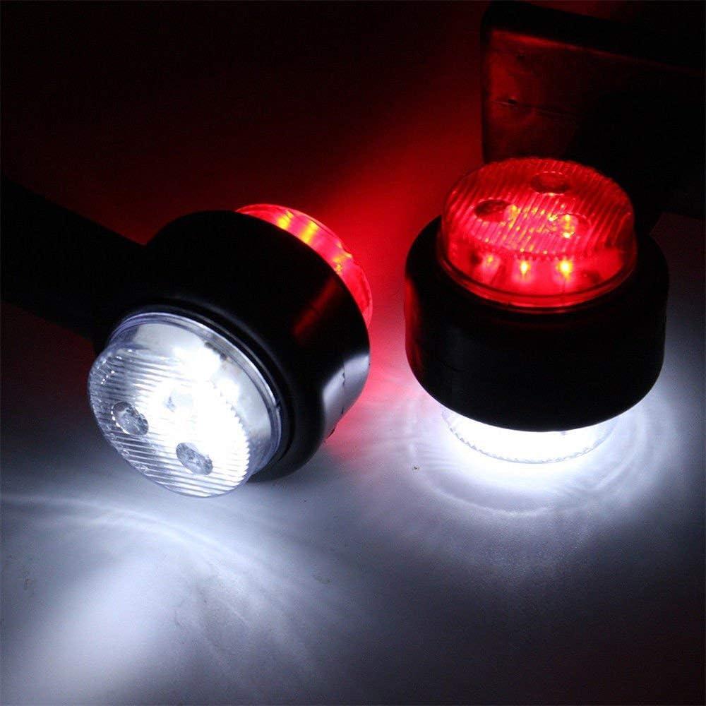 Trailer Marker 2X 8 LED SIDE OUTLINE STALK MARKER LIGHTS LAMP 12V White Red TRAILER TRUCK CARAVAN 20CM-a.12V LED SIDE OUTLINE STALK MARKER LIGHTS