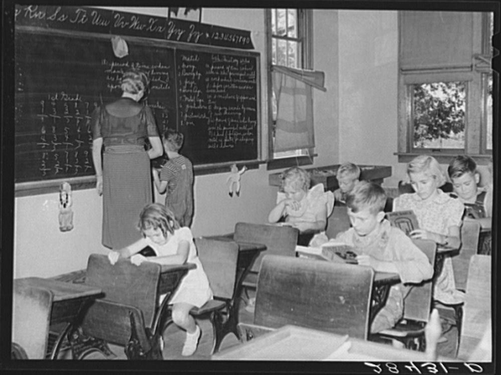 Teaching only pupil in the second grade in one-room schoolhouse. Grundy County, Iowa