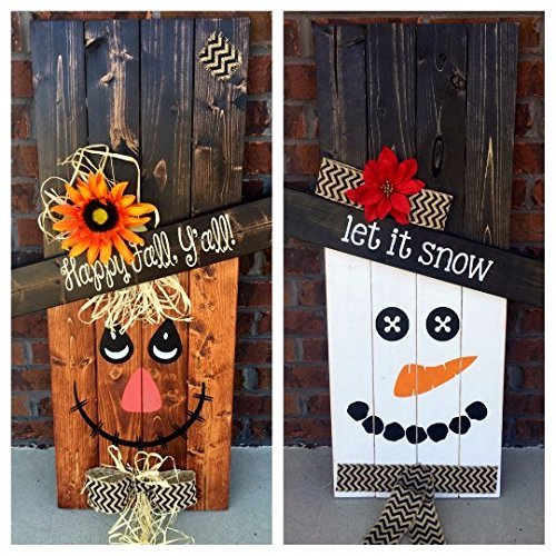 Amazoncom Reversible Scarecrow Snowman Pallet Sign Porch Decor