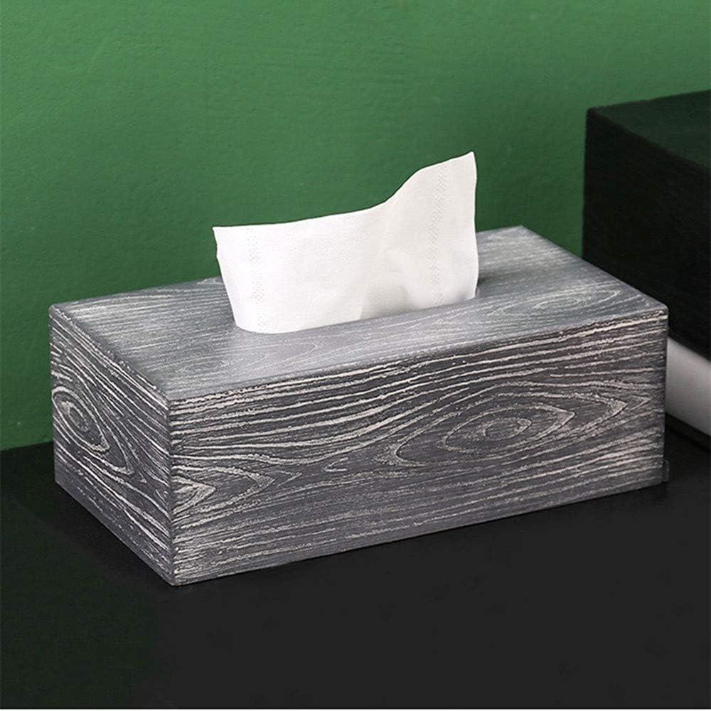 GOYOO Retro Textur Stil Taschentuchbox Holz Rechteckig Tissue Holder Dispenser/f/ür Home Office Badezimmer Waschtischplatten Schlafzimmer,Schwarz