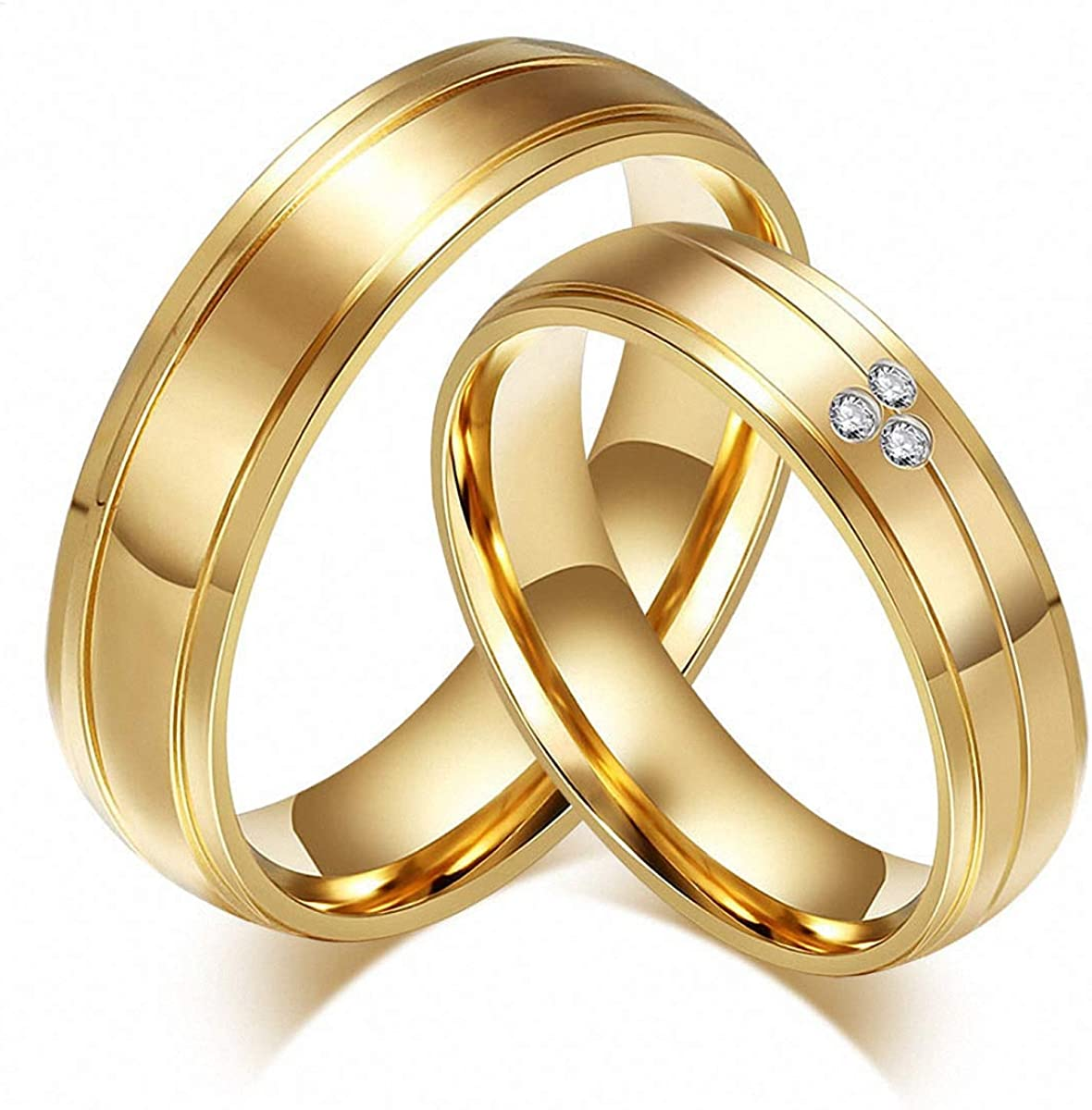 Amazon Com Cz Stone Wedding Rings Lover Stainless Steel Couple Rings Gold Couple Rings Women 10 Clothing