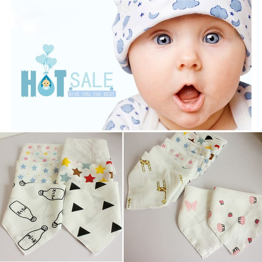 forone Kids Infant Soft Feeding Bandana Baby Saliva Towel Triangle Bibs Gauze Cotton