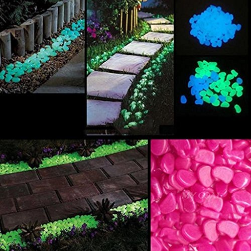 FavorU 200pcs Man-Made Glow in the Dark Pebbles Stone For Garden Walkway (100pcs Green+100pcs Dark Purple)