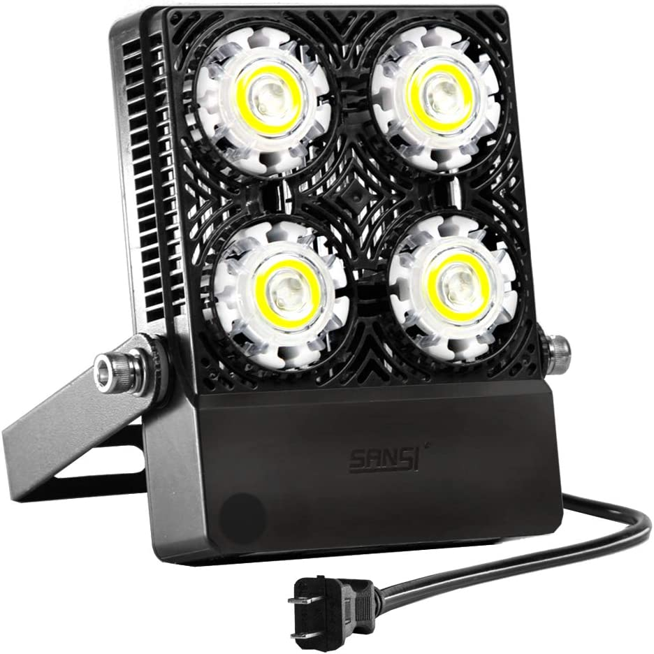 30W Outdoor LED Flood Light, 200W Equiv. 3000lm Super Bright Outdoor Security Light with Switch, IP66 Waterproof, 5700K Daylight White, Landscape Floodlight with Plug for Backyard, Garden, Warehouse