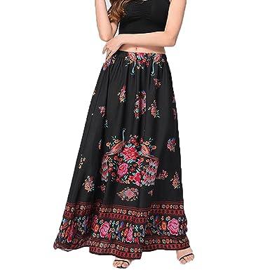 90aa420d43 WM & MW 2018 New Women Vintage Floral Boho Maxi Skirt Summer Beach Holiday  Party High