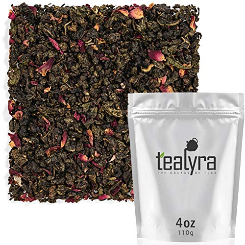 (Tealyra - Rose Oolong - Taiwanese Oolong and Rose Petals - Loose Leaf Tea - Very Fragrant and Unique Oolong Blend - Caffeine Medium - 110g (4-ounce))