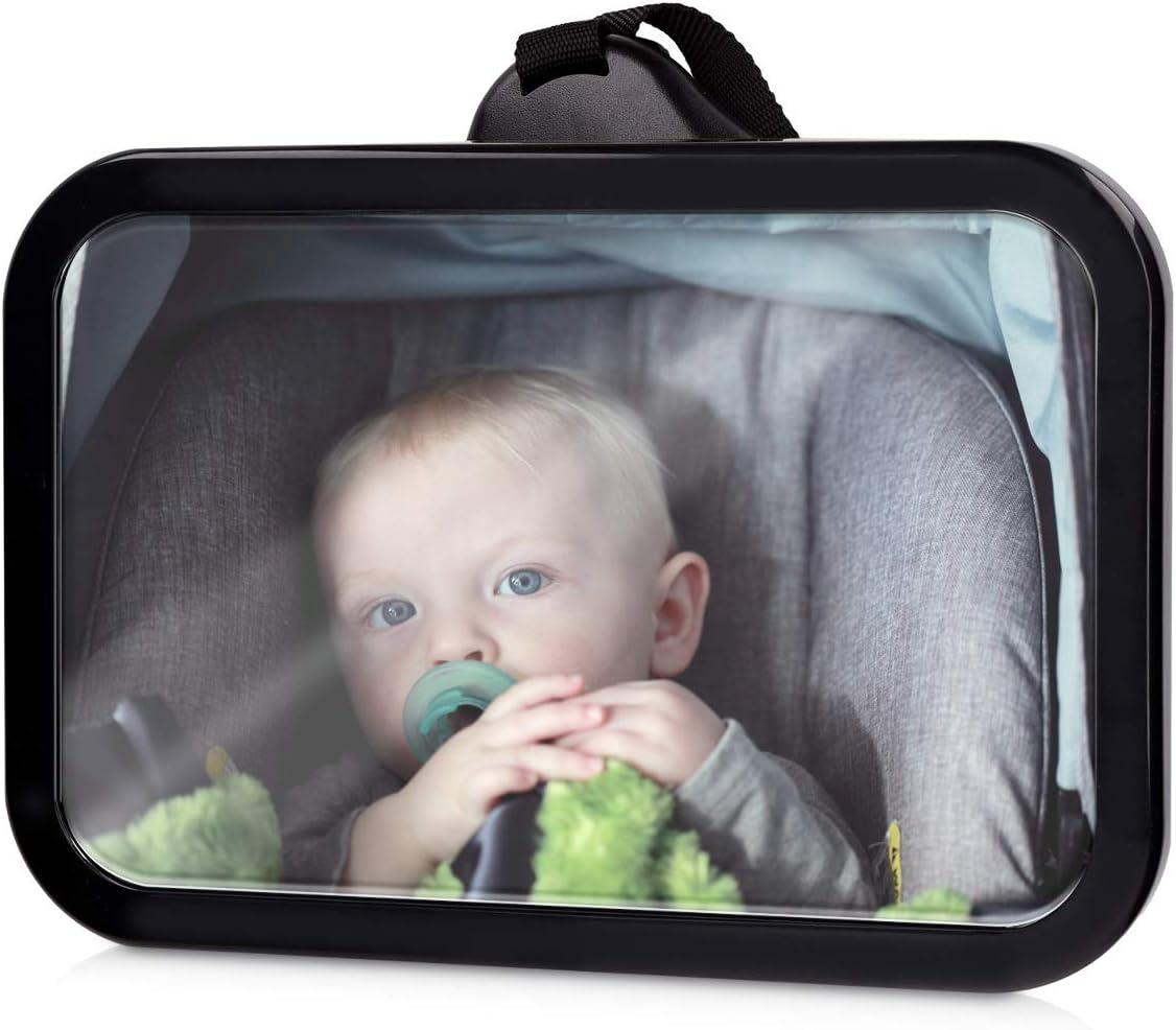 Navaris espejo retrovisor para bebés - Espejo giratorio 360° e irrompible - Espejo para asiento infantil en la parte trasera del coche