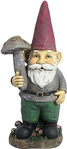 Sunnydaze Marty The Mushroom Garden Gnome, Outdoor Lawn Statue Decoration, 20 Inch Tall