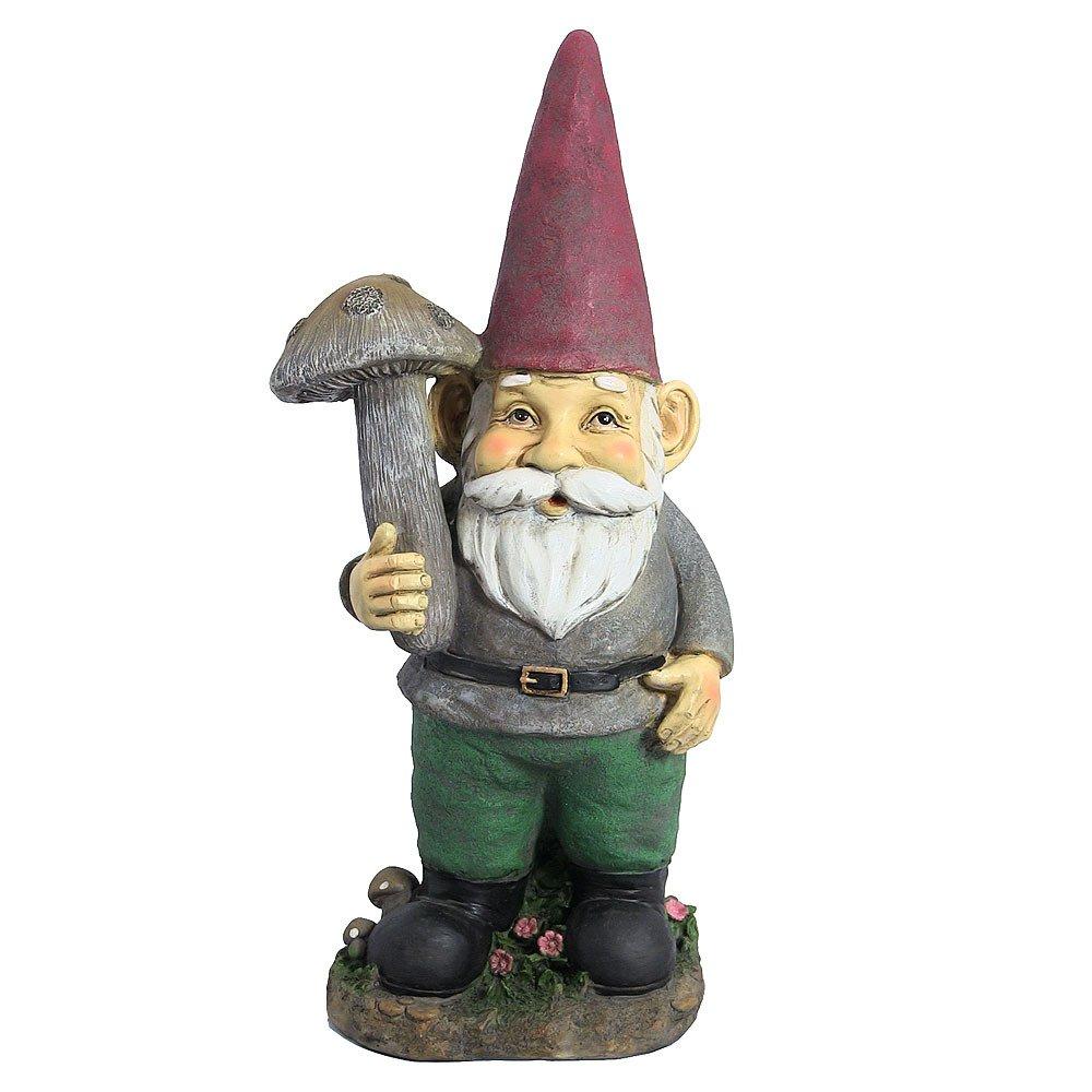 Outdoor decor statues - Amazon Com Marty The Mushroom Gnome 20 Inch By Sunnydaze Decor Garden Outdoor