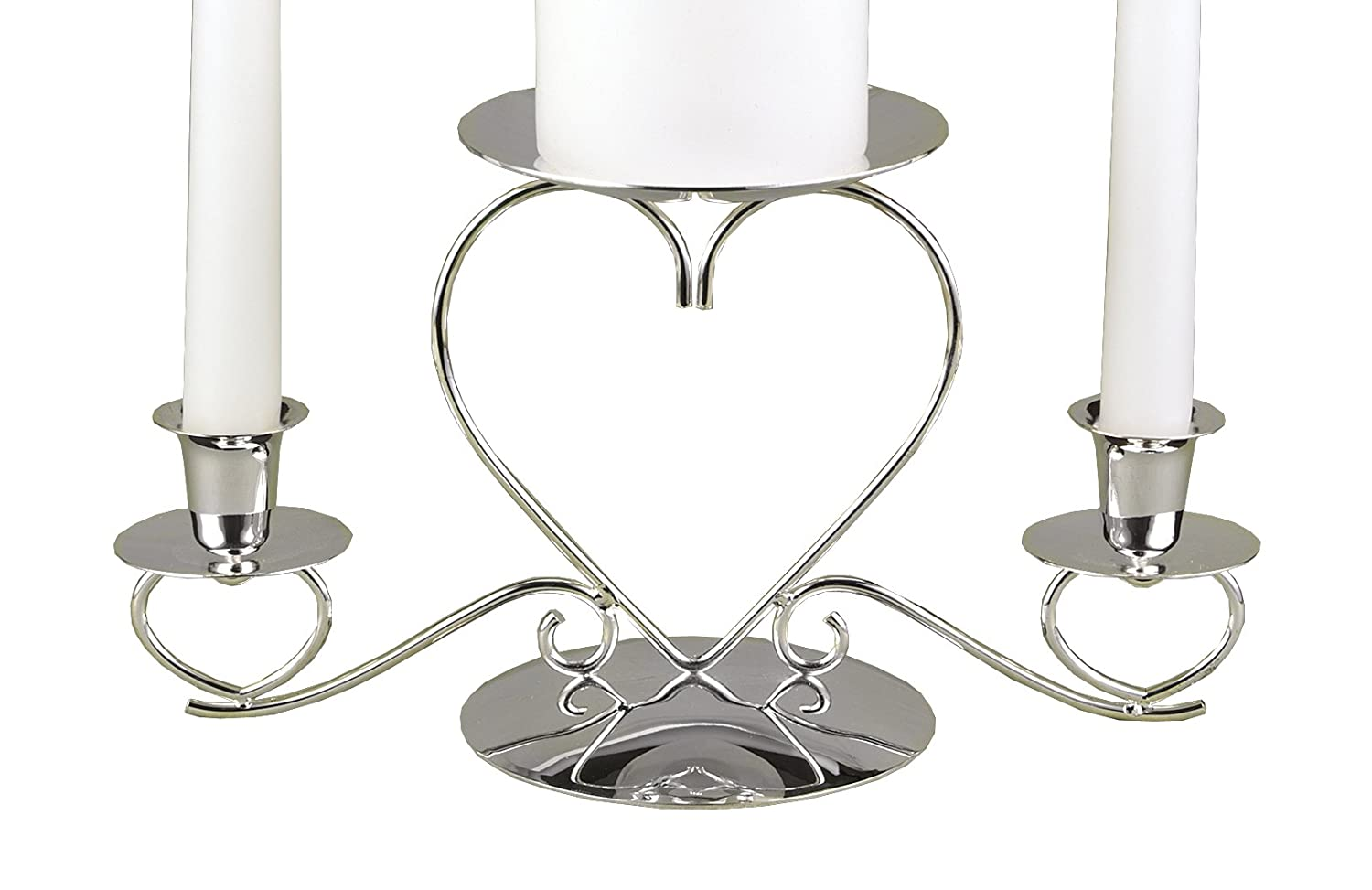 Amazon com hortense b hewitt wedding accessories unity candle stand triple heart silver 10 5 inches x 5 5 inches home kitchen