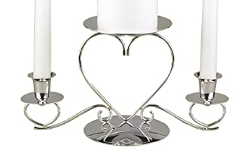 Hortense B Hewitt Wedding Accessories Unity Candle Stand Triple Heart Silver