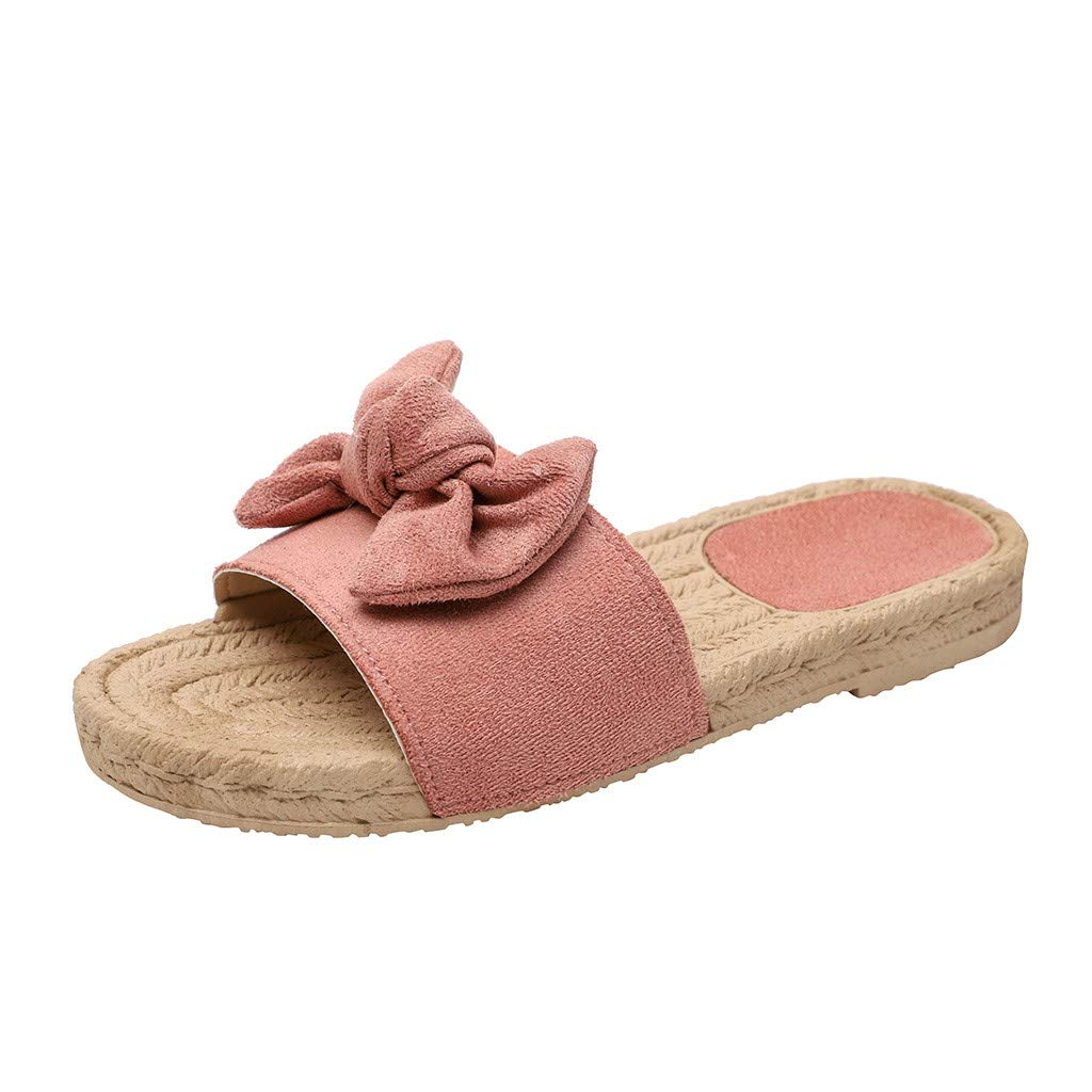 2019 Fashion Rome Women Butterfly-Knot Round Toe Slipper Summer Plus Size Flat Outdoor Casual Comfortable Slippers (Pink, 7.5)