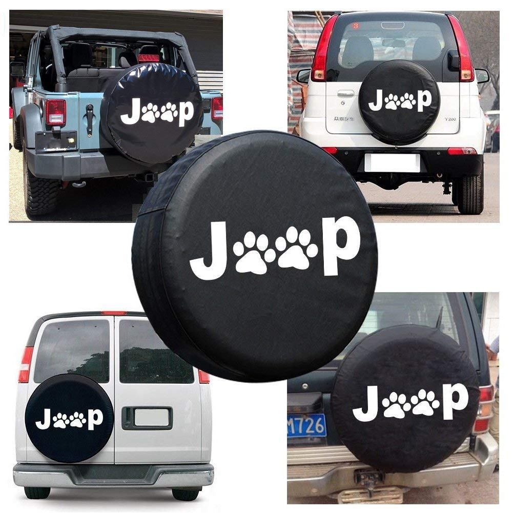 EIGIIS Leather WaterProof Dust-proof Thicken jeeps Wheel Protectors Covers Fit 16-17 Inch Jeep Wrangler Liberty Jeep Spare Tire Cover