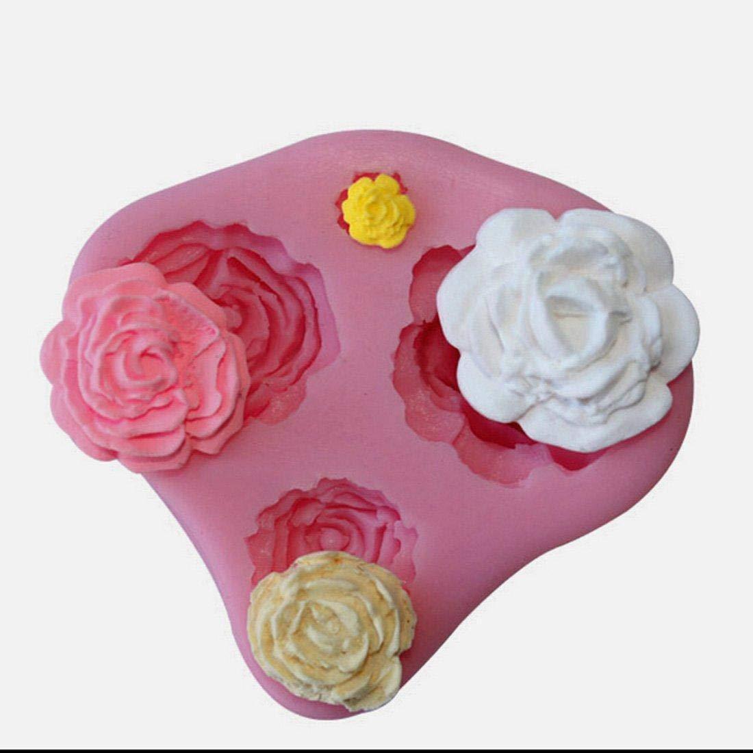 Depory 4 Troqueles con Forma de Color al Azar Tama?o de Rosas de Flores May/¨/²sculas y Molde de Silicona para Pasta de AZ/¨/²Car de decoraci/¨/®n para Tartas con Forma de Clase de eficiencia energ