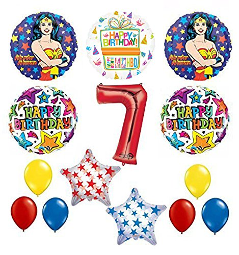 Wonder Woman 14 pc Superhero 7th Birthday Party Supplies and Balloon Decorations